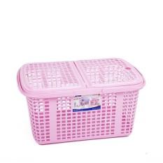 Làn -Giỏ nhựa đừng đồ đi sinh cho mẹ và bé có nắp đậy cỡ lớn 50*40*26 cm nhựa vieeth nhật màu xanh,đỏ,hồng