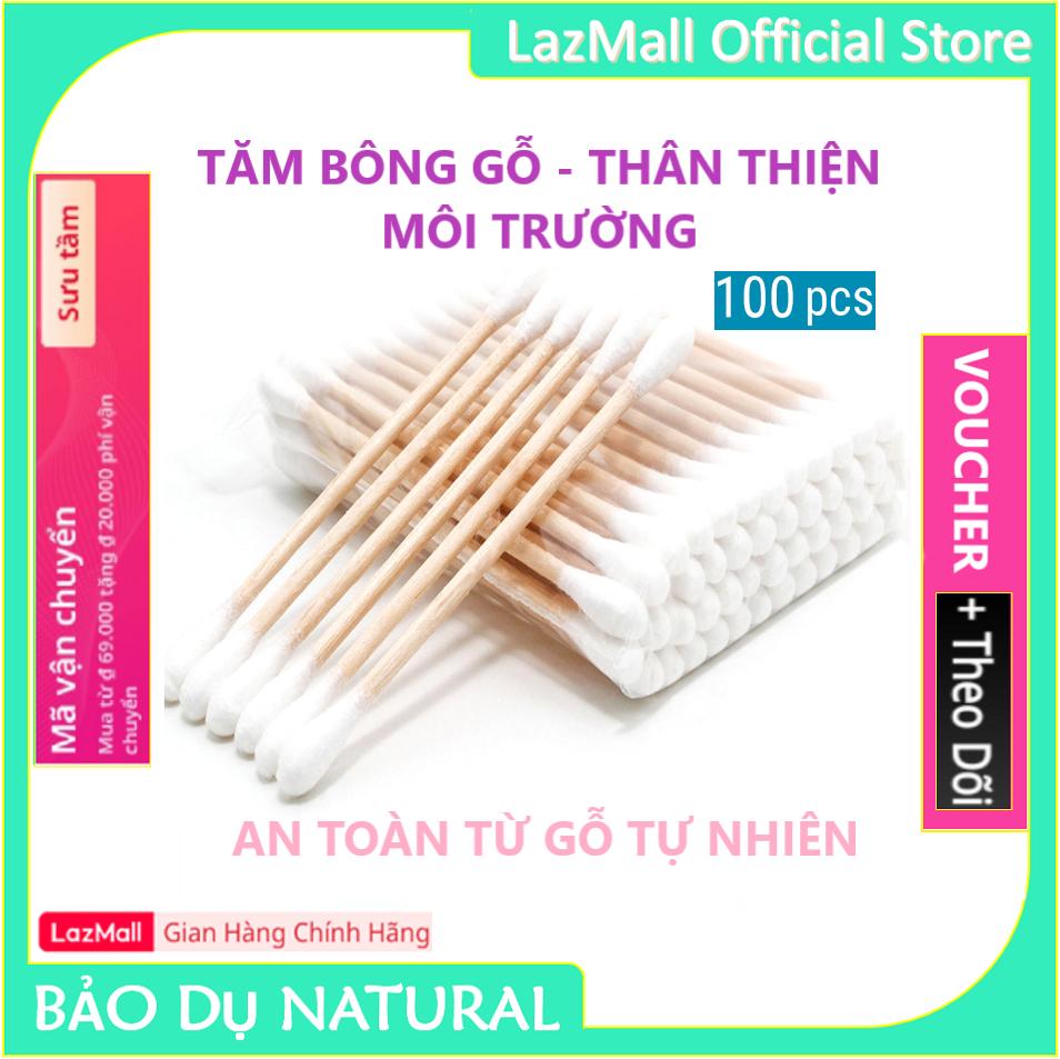 [MUA 4 TẶNG 1] Tăm bông thân Gỗ cao cấp Bông Gòn mềm mại thân thiện với môi trường – Gói 100 que – Hàng Chính Hãng