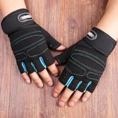Bộ 2 găng tay tập gym có dây cuốn bảo vệ cổ tay Màu Đen Xanh