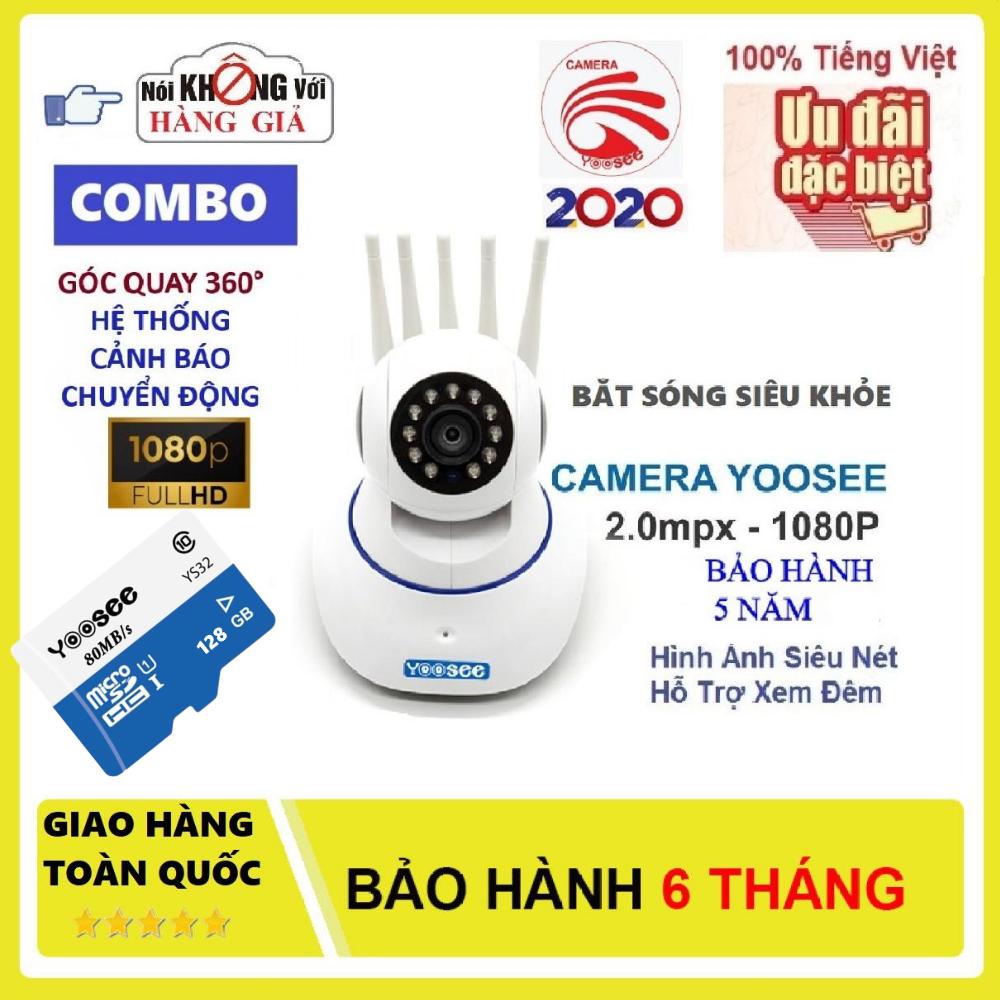 (KÈM Thẻ Yoosee128 GB Trị Giá 450K BH 5 Năm) Camera Wifi Không Dây Yoosee 5 Râu, Siêu Sắc Nét Full HD 1920x1080P, Ghi Âm (Lưu Ý Có 2 Mã Sản Phẩm: Đã Kèm Thẻ Và Không Kèm Thẻ)