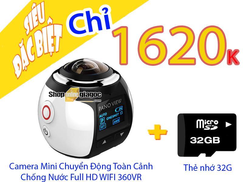 Combo Camera Mini Chuyển Động Toàn Cảnh Chống Nước Full HD Wifi 360VR + Thẻ Nhớ 32G