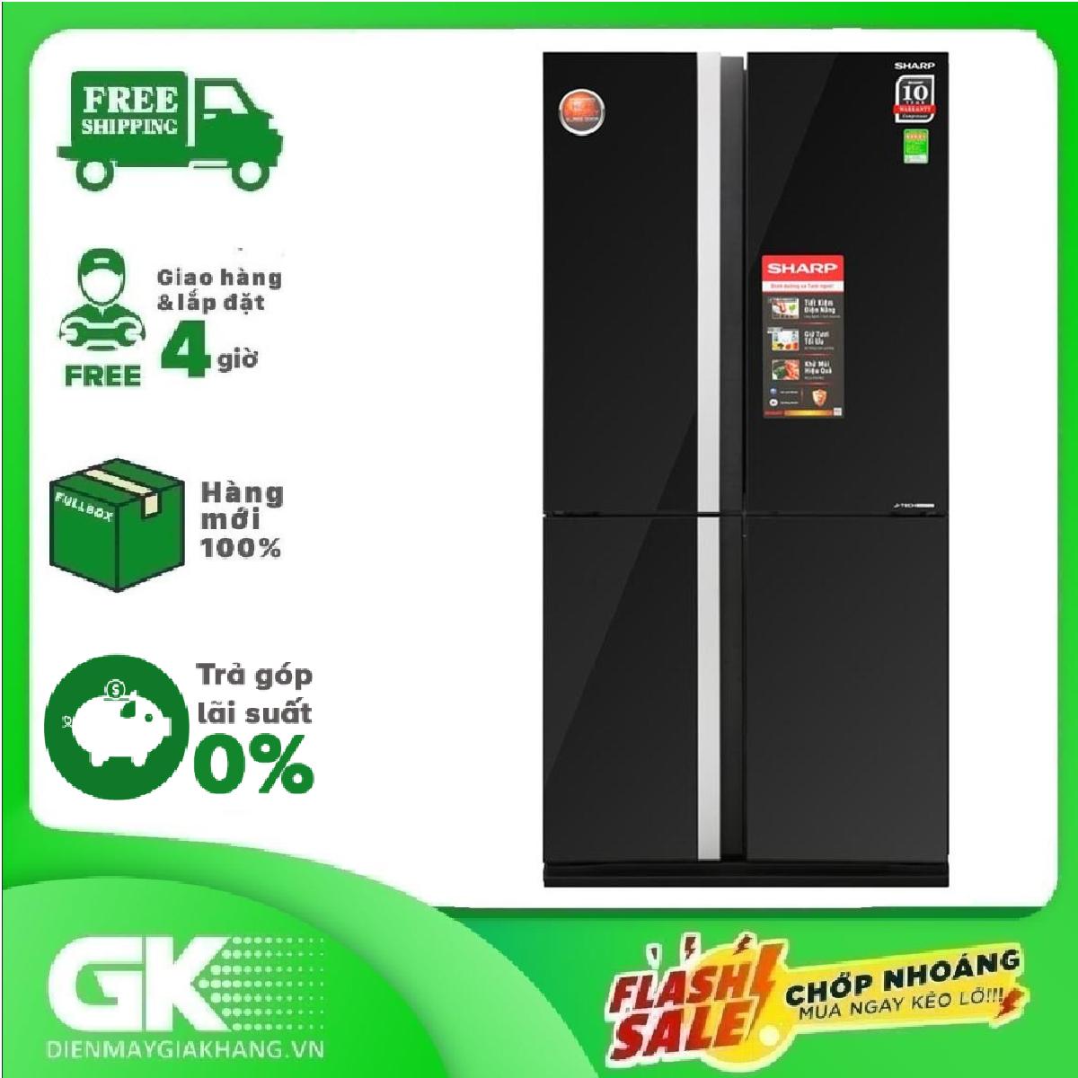 TRẢ GÓP 0% – Tủ lạnh Sharp Inverter 605 lít SJ-FX688VG-BK – Bảo hành 12 tháng