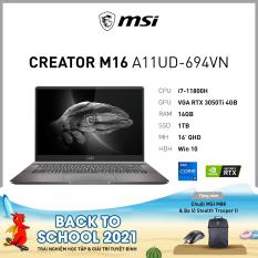 MSI Creator M16 A11UD-694VN (i7-11800H | 16GB | 1TB | GeForce RTX™ 3050Ti 4GB | 16′ QHD | Win 10)