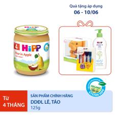 [QUÀ TẶNG HOT] Thức ăn dặm dinh dưỡng đóng lọ Lê, táo hữu cơ HiPP Organic 125 g