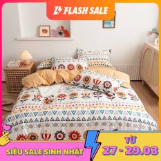 Bộ chăn ga gối Cotton PL HOA THỔ CẨM, set 4 món gồm vỏ chăn, ga trải giường, đôi vỏ gối nằm – EmmiBedding Store