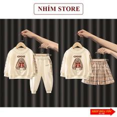 Quần áo trẻ em thu đông dài tay cho bé gái bé trai 6 – 19kg 5 tuổi mặc nhà chất cotton gấu Cross