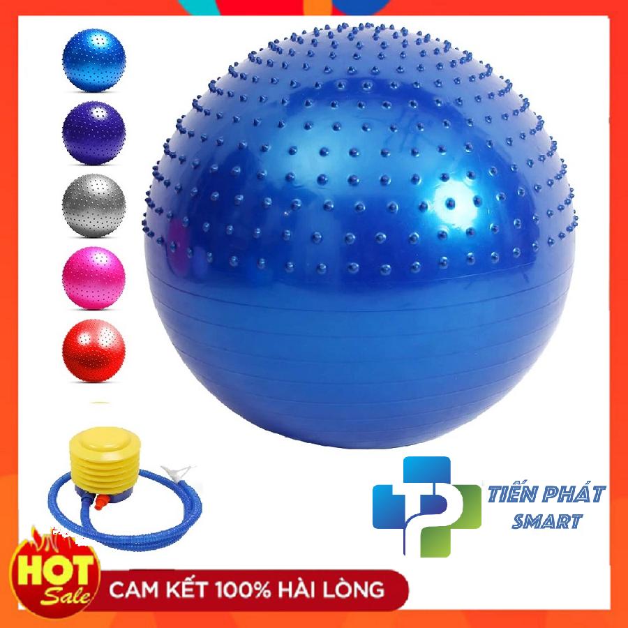 Bóng tập Yoga Nửa Gai + Nửa Trơn 3D -65cm Cao Cấp 1200Gram – Tặng kèm bơm( Hàng Cao Cấp)- Tienphatsmart