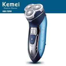 Máy cạo râu KEMEI KM-7390 3 lưỡi tròn cao cấp bảo hành 12 tháng (Màu xanh phối bạc)