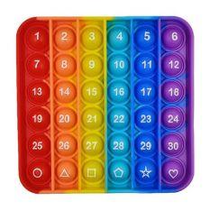 DFSFDC Giáo dục Người lớn Trẻ em Thuốc giảm căng thẳng Đồ chơi giác quan Đồ chơi thần tài Bàn bấm ngón tay Đồ chơi Lúm đồng tiền đơn giản với các chữ cái Đẩy bong bóng Số kỹ thuật số