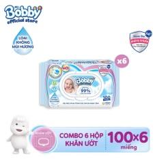 [THANH TOÁN GIẢM 7%] Bộ 6 gói khăn giấy ướt trẻ em Bobby Care Nano Bạc Kháng Khuẩn không mùi hương 100 miếng
