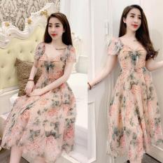 Đầm Nữ Dự Tiệc Voan Hoa Thời Thượng Phong Cách Thời Trang LANABI