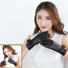 Găng tay da Nữ- Hai lớp nỉ cảm ứng