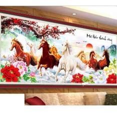 Tranh thêu chữ thập mã đáo thành công 8 con ngựa 3D Ailuo AL53458 99×48