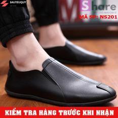 (TẶNG TẤT LƯỜI CAO CẤP) – Giày Lười Nam Hàn Quốc Màu Đen
