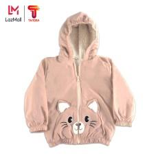 TANOSA Áo phao lót lông cừu cho bé 1-6 tuổi túi mèo đáng yêu, nhiều màu, có mũ cao cấp