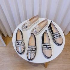 giày lười nữ – giày búp bê nữ – giày bệt nữ – giày mọi nữ đế độn cao su đúc siêu mềm cao 3cm viền đá ánh kim