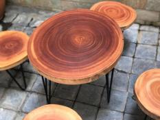 Mặt bàn xà cừ không chân cỡ 45 đến 52cm