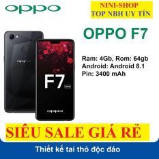 Điện thoại OPPO F7 2sim (Màu Đen) Ram 4G/64G mới Fullbox, Chơi game nặng mượt