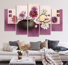 Tranh treo tường bình hoa tím nghệ thuật 3D / Tranh gỗ cao cấp / In UV chống bay màu