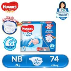 [Giảm 40K đơn 399K] Tã dán sơ sinh Huggies NB74 (dưới 5kg) – Gói 74 miếng (Bao bì mới)