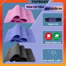 Thảm yoga, Gym định tuyến TPE cao cấp tặng kèm túi đựng – Thảm yoga chống trượt định tuyến T1
