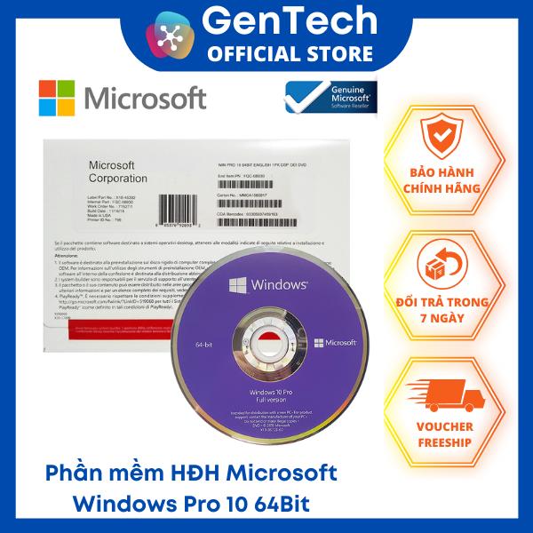 Phần mềm HĐH Microsoft Windows Pro 10 64Bit