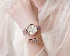Đồng hồ nữ Julius Hàn Quốc JA-1259A dây da cá tính (Hồng tím)
