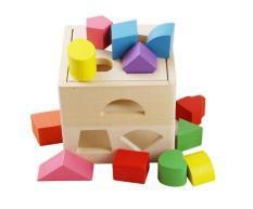Hộp thả các khối hình học bằng gỗ – đồ chơi giáo dục Montessori