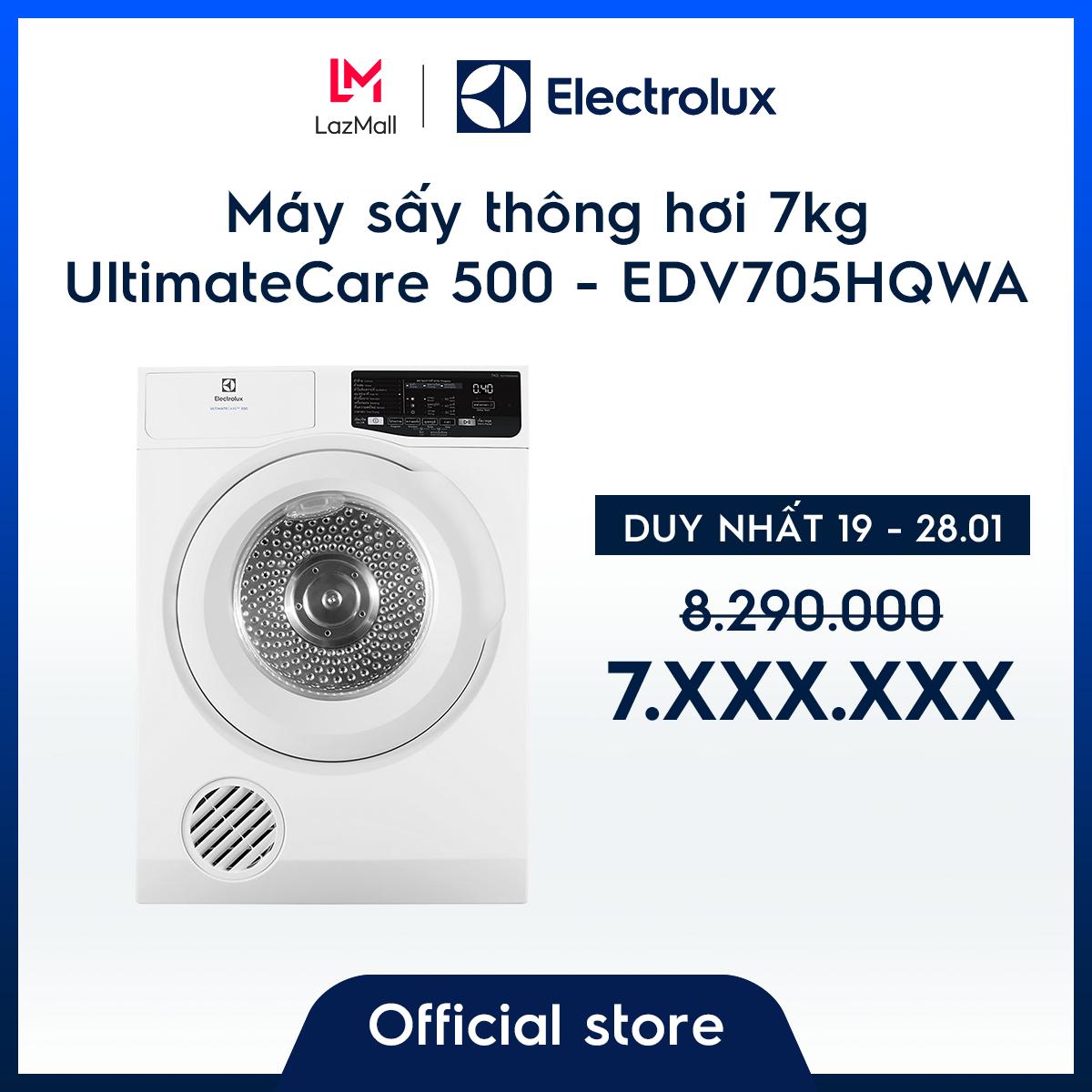 [Miễn phí công lắp đặt] Máy sấy thông hơi Electrolux 7kg UltimateCare 500 EDV705HQWA – Màu Trắng –