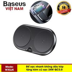 Đế sạc nhanh không dây kép Baseus WXXHJ sạc 2 máy cùng một lúc công xuất 10W kèm củ sạc nhanh 24W QC3.0 thông minh chuẩn Qi cho iphone X , iphone 8,Samsung S9, Note8 – Phân phối bởi Baseus Vietnam