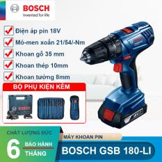 Máy khoan vặn vít dùng pin 18V Bosch GSB 180 LI + Tặng túi dây rút