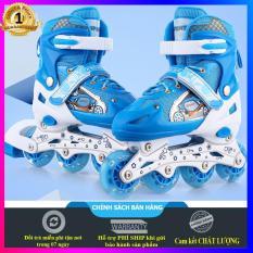 Giày trượt patin cho bé trai tiểu học (5-12 tuổi), size M cao cấp + Tặng kèm đầy đủ phụ kiện (mũ bảo hiểm, bảo vệ tay chân, đồ trang trí)