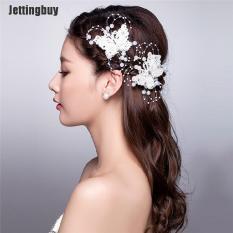 Jettingbuy Cài tóc hình bướm bằng hợp kim kẽm và ren gắn ngọc trai thời trang cưới mới dành cho cô dâu – INTL
