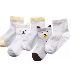 Set 5 đôi tất lưới cổ cao cho bé 0-2 tuổi chất cotton chống trơn trượt hình thú lạ mắt phối màu sắc đáng yêu BBShine – T017