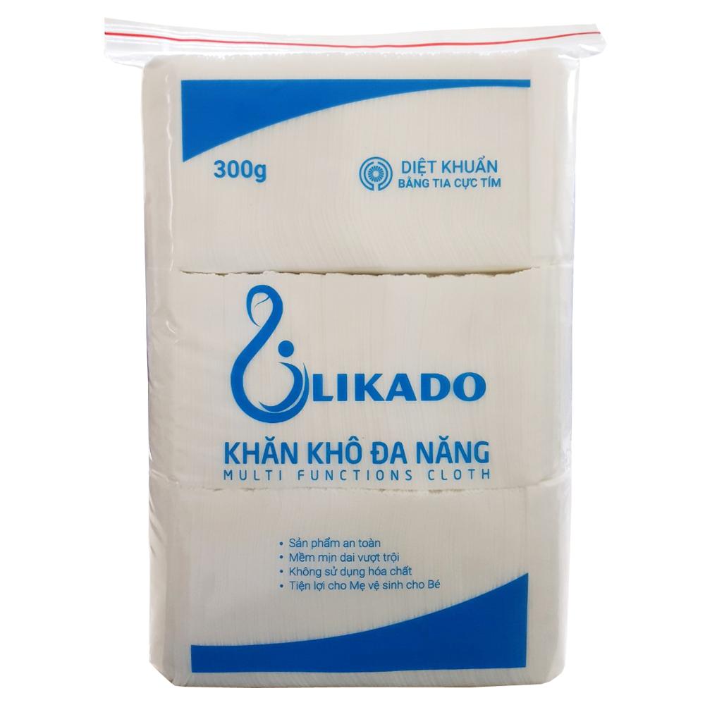 Khăn vải khô Likado 300g gấp tư 14x20cm (1 gói) dùng cho mẹ và bé tẩy trang