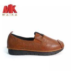Giày lười neon nữ S1067 Nâu êm chân, thoải mái đi bộ MK MAIKA