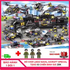 [MUA 1 TẶNG 3 – CÓ VIDEO] Bộ Lego đồ chơi xếp hình bé trai naval aircraft special military gồm 710 chi tiết được làm bằng nhựa ABS an toàn cho trẻ em được tặng kèm 3 hình nhân chiến binh CS1007