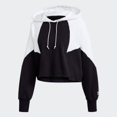 adidas ORIGINALS Áo hoodie dáng lửng logo lớn Nữ Màu đen GD2404