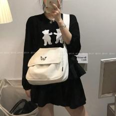 [TẶNG QUÀ HẤP DẪN] Túi tote, túi vải, túi đeo chéo nam nữ thêu hình con bướm phong cách Hàn Quốc