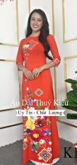 Áo dài Thúy Kiều in 3D lụa Nhật màu đỏ hoa ô vuông K13