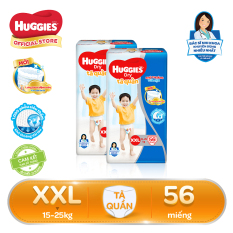 Bộ 2 Tã/bỉm quần Huggies Super Jumbo XXL56 – Gói 56 miếng (Cho bé 15kg – 25kg)