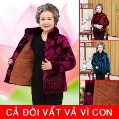 Áo khoác nhung cho bà, áo khoác lót lông đại hàn cho người già