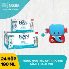 Thùng 24 hộp Sữa bột pha sẵn Nestle NAN OPTIPRO 4 RTD cho trẻ trên 2 tuổi (RTD) 180ml (4x180ml) + Tặng 1 balo con voi – Giới hạn 5 sản phẩm/khách hàng