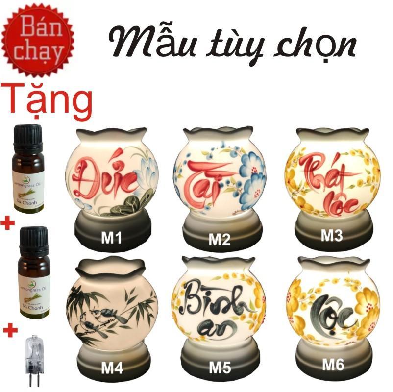 Đèn Xông Tinh Dầu Gốm Bát Tràng + Tặng 2 chai tinh dầu nguyên chất 10ml +1 bóng dự phòng(Tinh...