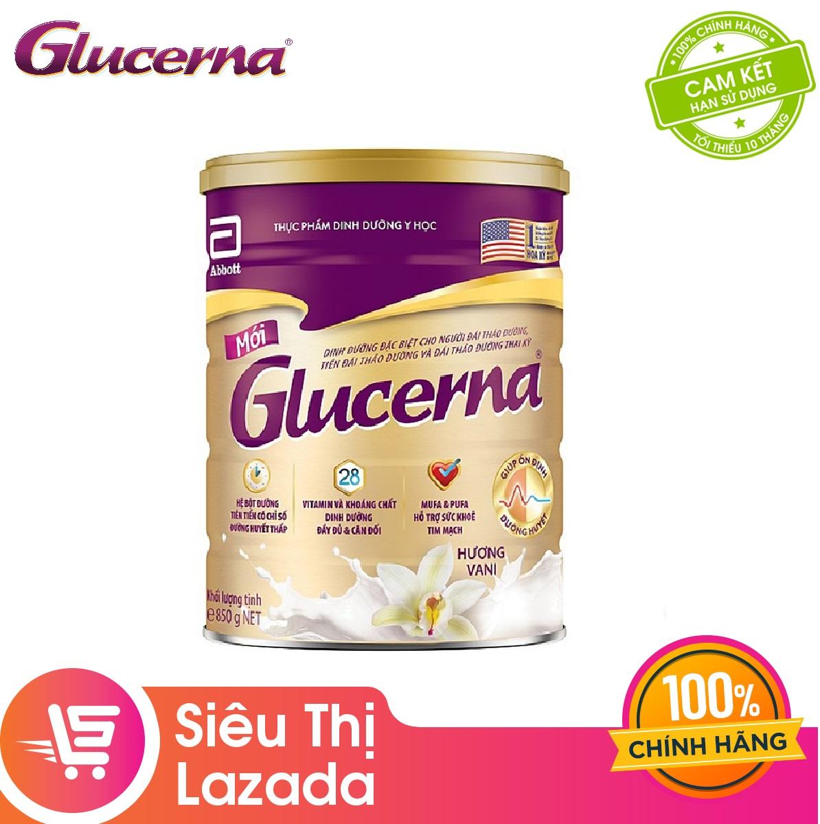Lon sữa bột Abbott Glucerna Hương Vani 850gram công thức độc đáo và hệ dưỡng chất đặc chế Triple Care...