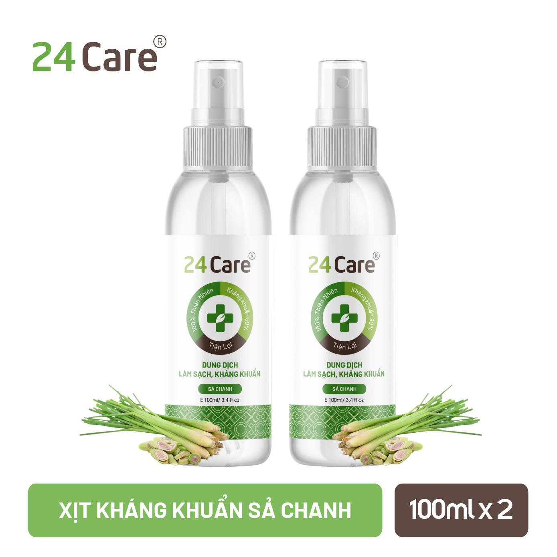 Combo 2 Xịt sát khuẩn tinh dầu Sả Chanh 24Care - diệt khuẩn 99,9%, xịt rửa tay khô, xịt khử...