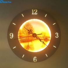 Đèn Led treo tường gắn tường tích hợp đồng hồ Led 24w 3 chế độ màu GT329E Ngân Tin