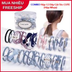 Bộ Combo 12 nơ buộc tóc dây chun cột tóc phong cách hàn quốc cao cấp – Dây buộc tóc cao cấp
