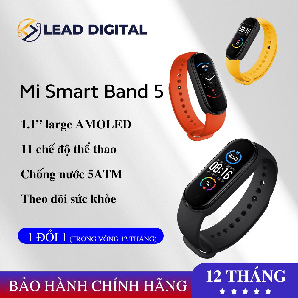 [BẢN QUỐC TẾ] Vòng đeo tay thông minh Xiaomi Mi Band 5 – Bảo hành 1 đổi 1 12 tháng HỖ TRỢ TIẾNG VIỆT, Màn hình AMOLED 1.1″ Chống Nước 5ATM, Kính Chống Trầy, Cảm Biến Nhịp Tim, Cảm biến sinh học PPG, Theo Dõi Sức Khỏe, Kết Nối Bluetooth
