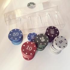 Bộ 100 chip poker có số ( phỉnh poker ) chất nhựa ABS cao cấp hình in sắc nét, có khay nhựa tặng kèm